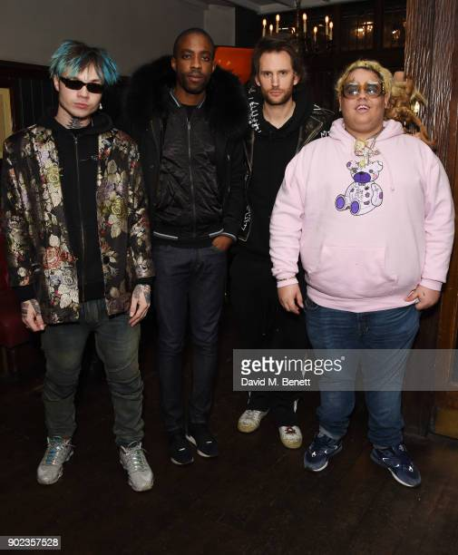 Bexey Swan Emmanuel Ezugwu Marc Jacques Burton and Fat Nick attend the LFWM Official Party Pub LockIn during London Fashion Week Men's January 2018...