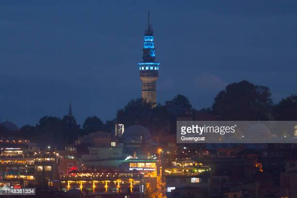Beyazt Tower in Istanbul by night
