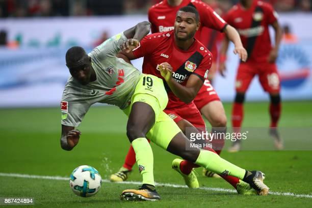 Beyhan Ametov of Koeln scores his team's first goal to make it 01 during the Bundesliga match between Bayer 04 Leverkusen and 1 FC Koeln at BayArena...