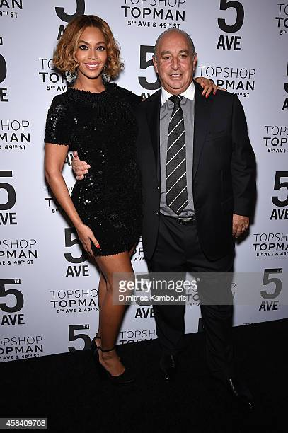 Beyoncé Knowles and Sir Philip Green attend the Topshop Topman New York City flagship opening dinner at Grand Central Terminal on November 4, 2014 in...