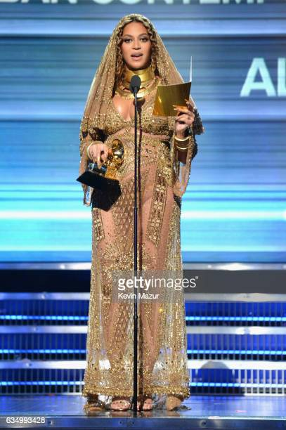 Beyonce accepts award onstage during The 59th GRAMMY Awards at STAPLES Center on February 12 2017 in Los Angeles California