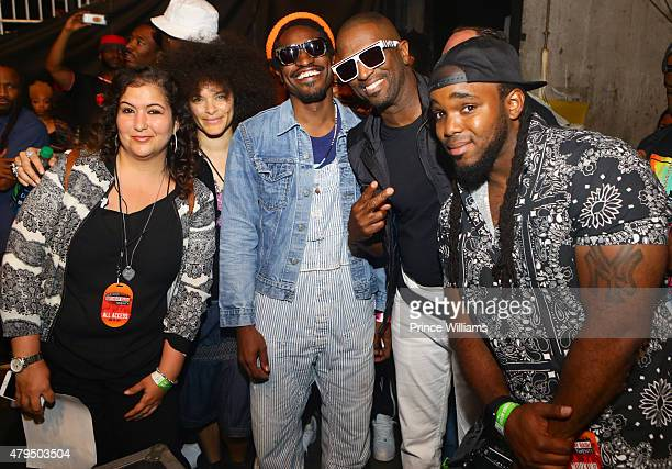 Beyonce Aluwishis Mali Hunter Andre 3000 Rickey Smiley and Headkrack attend Hot 1079 Birthday Bash Block Show at Philips Arena on June 20 2015 in...