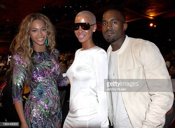 Beyonce Amber Rose and Kanye West at The Shrine Auditorium on June 28 2009 in Los Angeles California