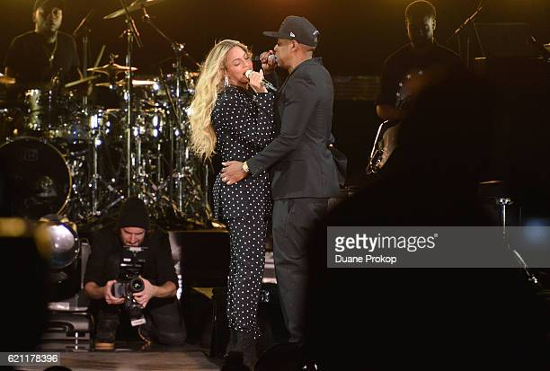 Beyonce and and Jay Z perform on stage during a Get Out The Vote concert in support of Hillary Clinton at Wolstein Center on November 4 2016 in...
