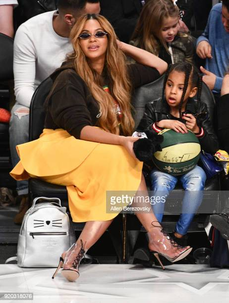 Beyonce and Blue Ivy Carter attend The 67th NBA AllStar Game Team LeBron Vs Team Stephen at Staples Center on February 18 2018 in Los Angeles...