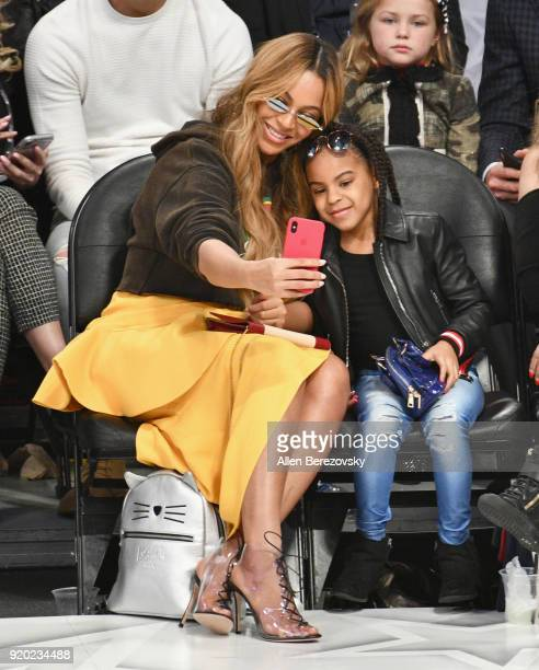 Beyonce and Blue Ivy Carter attend the NBA AllStar Game 2018 at Staples Center on February 18 2018 in Los Angeles California