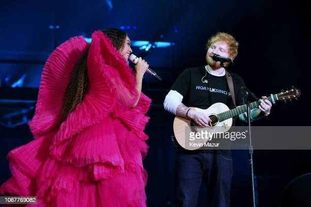 Beyonce and Ed Sheeran perform during the Global Citizen Festival Mandela 100 at FNB Stadium on December 2 2018 in Johannesburg South Africa