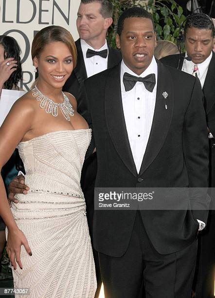 Beyonce and Jay Z arrives at The 66th Annual Golden Globe Awards at The Beverly Hilton Hotel on January 11 2009 in Hollywood California