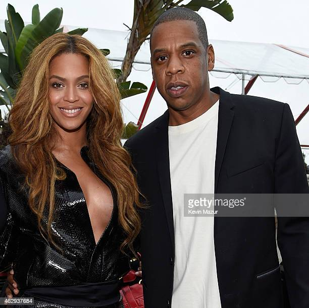 Beyonce and Jay Z attend the Roc Nation and Three Six Zero PreGRAMMY Brunch at Private Residence on February 7 2015 in Beverly Hills California