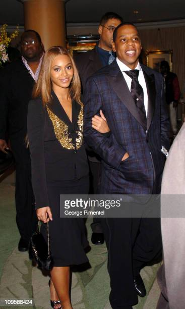 Beyonce and Jay Z during Clive Davis' 2005 PreGRAMMY Awards Party Departures at Beverly Hills Hotel in Beverly Hills California United States