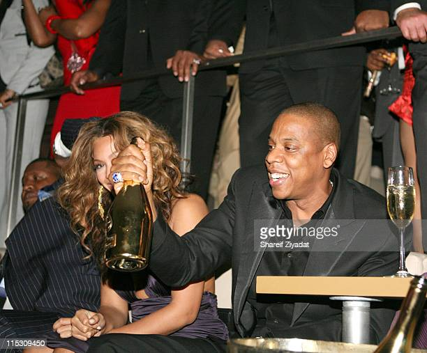 Beyonce and Jay Z during JayZ Celebrates the One Year Anniversary of the 40/40 Club at 40/40 in Atlantic City United States