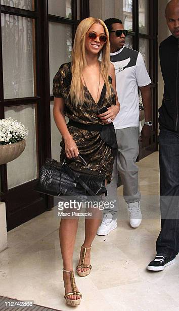 Beyonce and Jay Z leave their hotel on their way to celebrate their wedding anniversary on a romantic dinner at 'L'Avenue' restaurant on April 20...