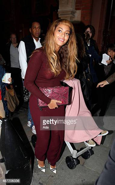 Beyonce and JayZ are seen arriving at Kings Cross on the Eurostar from Paris with Blu Ivy on October 14 2014 in London England