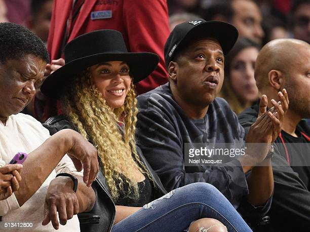 Beyonce and JayZ attend a basketball game between the Oklahoma City Thunder and the Los Angeles Clippers at Staples Center on March 2 2016 in Los...
