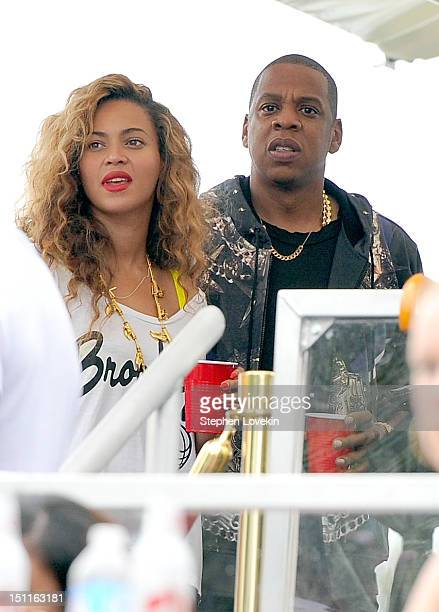 Beyonce and JayZ attend backstage at the Budweiser Made In America Festival Benefiting The United Way Day 2 at Benjamin Franklin Parkway on September...