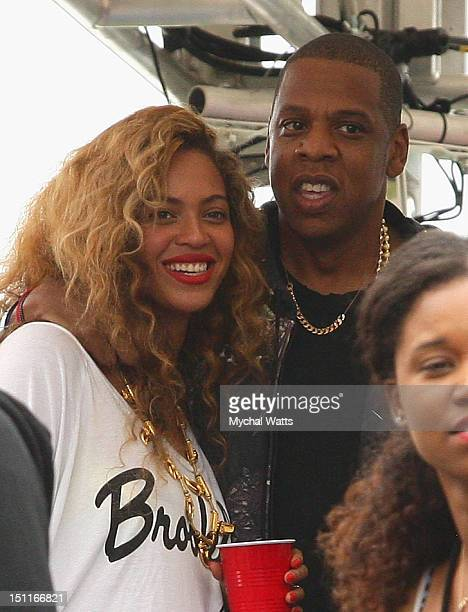Beyonce and Jay-Z attend backstage at the Budweiser Made In America Festival Benefiting The United Way - Day 2 at Benjamin Franklin Parkway on...