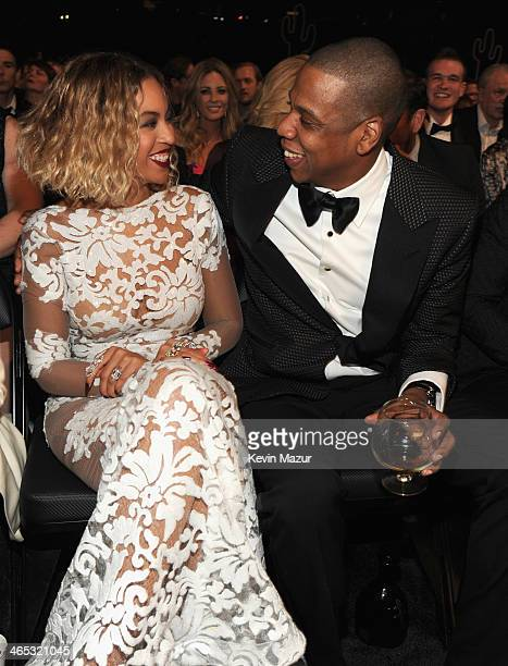 Beyonce and JayZ attend the 56th GRAMMY Awards at Staples Center on January 26 2014 in Los Angeles California