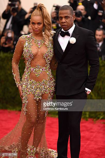Beyonce and JayZ attend the China Through The Looking Glass Costume Institute Benefit Gala at the Metropolitan Museum of Art on May 4 2015 in New...