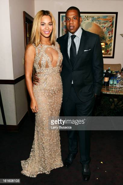 Beyonce and JayZ attend the HBO Documentary Film Beyonce Life Is But A Dream New York Premiere at the Ziegfeld Theater on February 12 2013 in New...
