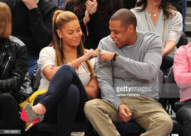Beyonce and JayZ attend the New Jersey Nets vs New York Knicks game at Madison Square Garden on February 20 2012 in New York City