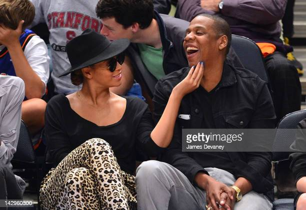 Beyonce and JayZ attend the New York Knicks vs Miami Heat basketball game at Madison Square Garden on April 15 2012 in New York City