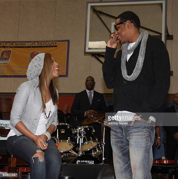 Beyonce and JayZ attend the Sprite Green Instrument Donation on February 14 2009 in Mesa Arizona