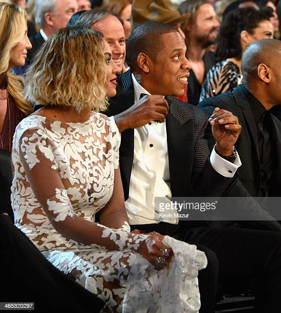 Beyonce and JayZ attends the 56th GRAMMY Awards at Staples Center on January 26 2014 in Los Angeles California