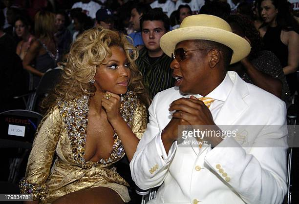 Beyonce and JayZ during 2004 MTV Video Music Awards Backstage and Audience at American Airlines Arena in Miami Florida United States