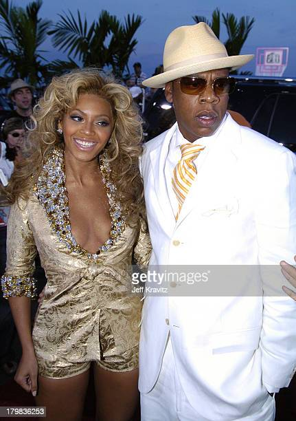 Beyonce and JayZ during 2004 MTV Video Music Awards Red Carpet at American Airlines Arena in Miami Florida United States