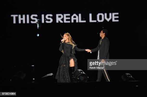 Beyonce and JayZ hold hands ending their performance on stage during the On the Run II Tour at Hampden Park on June 9 2018 in Glasgow Scotland