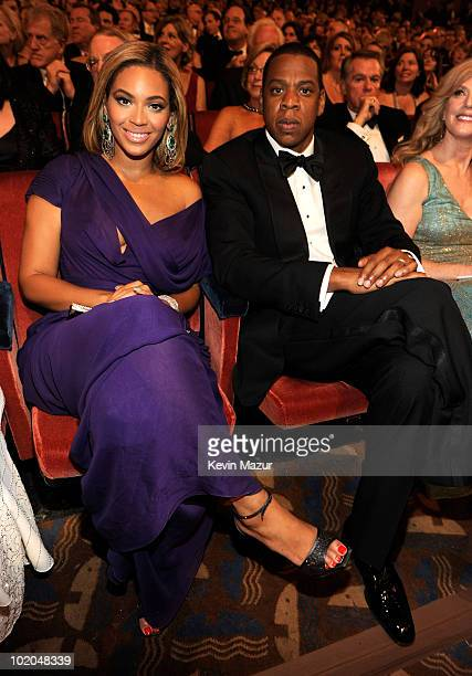 Beyonce and Jay-Z in the audience at the 64th Annual Tony Awards at Radio City Music Hall on June 13, 2010 in New York City.