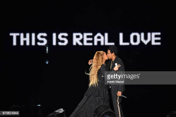 Beyonce and JayZ kiss ending their performance on stage during the On the Run II Tour at Hampden Park on June 9 2018 in Glasgow Scotland