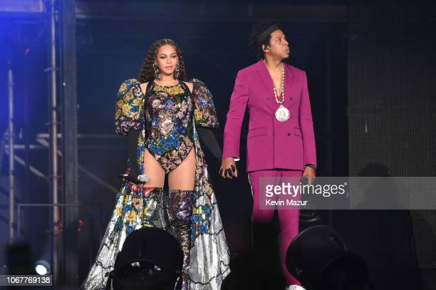Beyonce and Jay-Z perform during the Global Citizen Festival: Mandela 100 at FNB Stadium on December 2, 2018 in Johannesburg, South Africa.