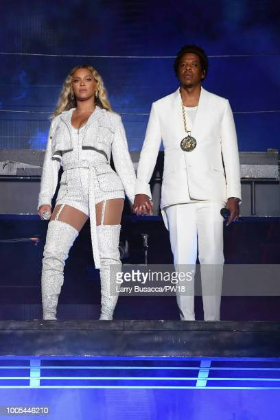 Beyonce and JayZ perform on stage during the 'On the Run II' tour opener at FirstEnergy Stadium on July 25 2018 in Cleveland Ohio