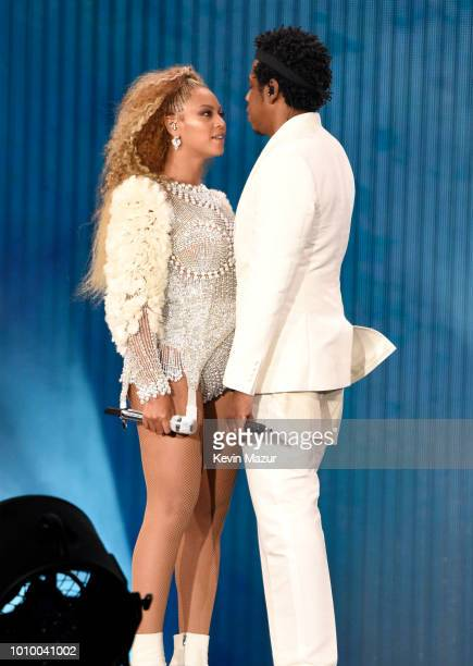 Beyonce and JayZ perform on stage during the 'On the Run II' tour at MetLife Stadium on August 2 2018 in East Rutherford New Jersey
