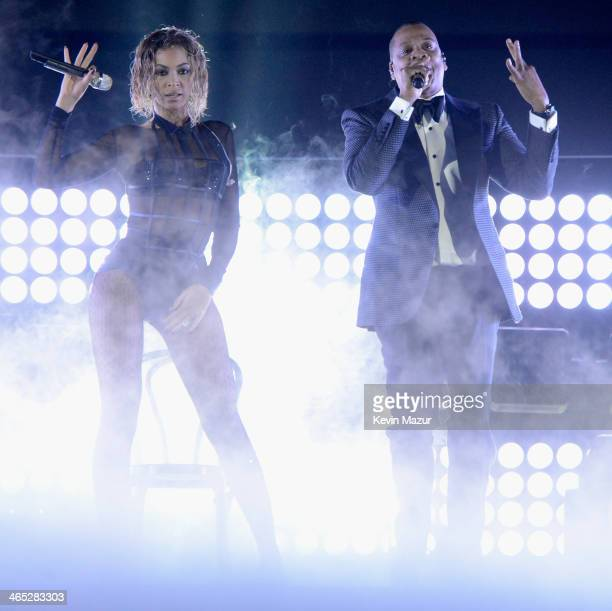 Beyonce and JayZ perform onstage during the 56th GRAMMY Awards at Staples Center on January 26 2014 in Los Angeles California