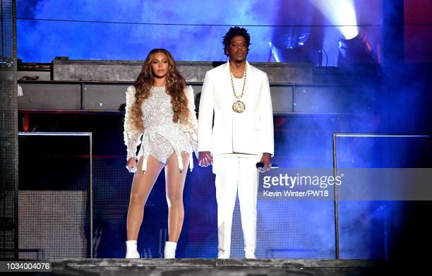 "Beyonce and Jay-Z perform onstage during the ""On the Run II"" Tour at NRG Stadium on September 15, 2018 in Houston, Texas."