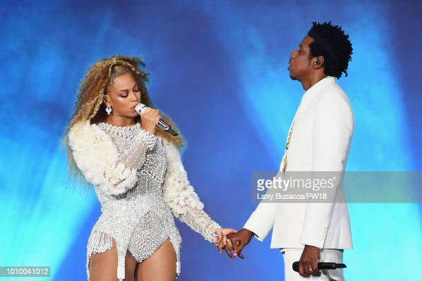 Beyonce and JayZ perform onstage during the 'On The Run II' Tour New Jersey at MetLife Stadium on August 2 2018 in East Rutherford New Jersey