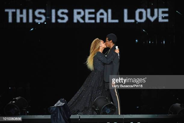 Beyonce and JayZ perform onstage during the On The Run II Tour New Jersey at MetLife Stadium on August 2 2018 in East Rutherford New Jersey