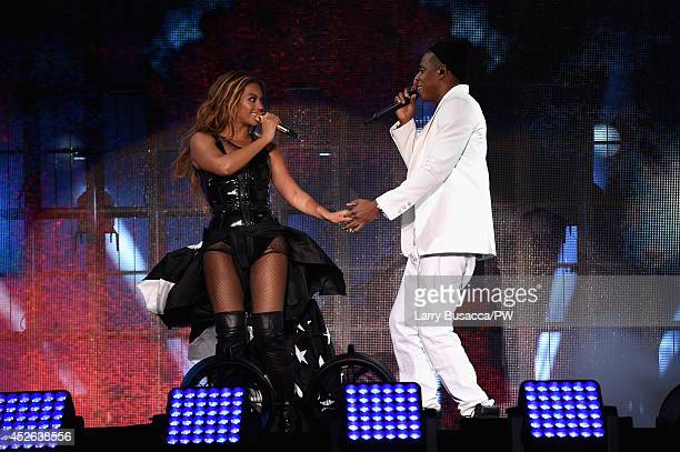 Beyonce and JayZ perform onstage during the 'On The Run Tour Beyonce And JayZ' at Soldier Field on July 24 2014 in Chicago Illinois