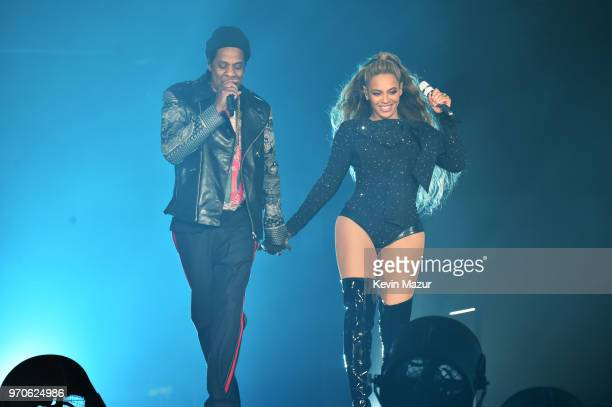 Beyonce and JayZ perform together holding hands on stage during the On the Run II Tour at Hampden Park on June 9 2018 in Glasgow Scotland