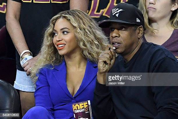 Beyonce and JayZ sit courtside for Game 6 of the 2016 NBA Finals at Quicken Loans Arena on June 16 2016 in Cleveland Ohio NOTE TO USER User expressly...