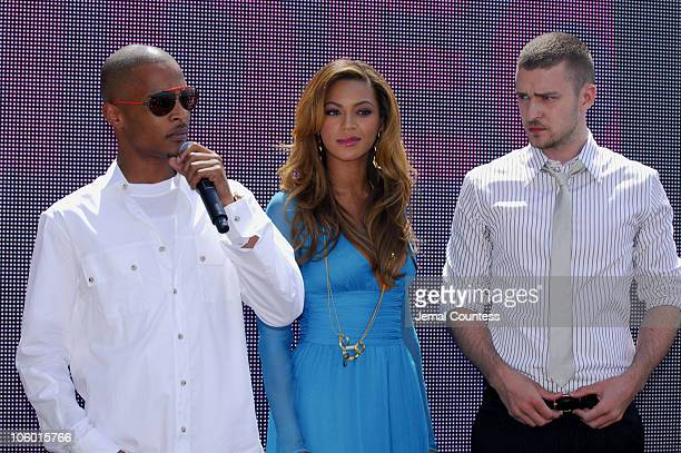 TI Beyonce and Justin Timberlake during 2006 MTV Video Music Awards Nomination Announcement at Top of the Rock Rockefeller Center in New York City...