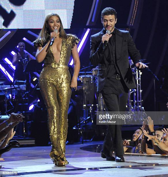 Beyonce and Justin Timberlake perform on stage during the Conde Nast Media Group's Fifth Annual Fashion Rocks at Radio City Music Hall on September 5...