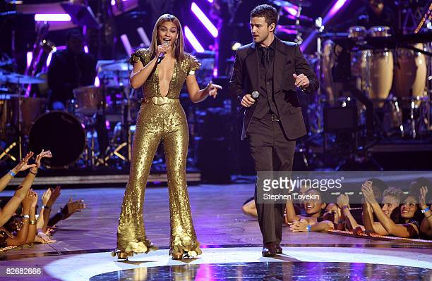 Beyonce and Justin Timberlake performs on stage during the Conde Nast Media Group's Fifth Annual Fashion Rocks at Radio City Music Hall on September...