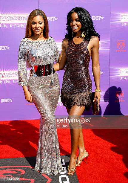 Beyonce and Kelly Rowland of Destiny's Child during BET Awards 2007 Arrivals at Shrine Auditorium in Los Angeles California United States