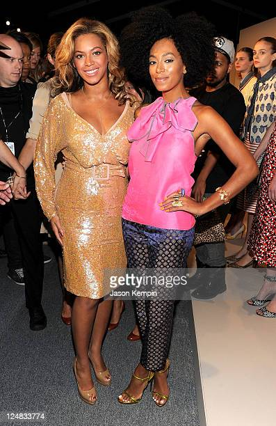 Beyonce and Solange Knowles attend the JCrew Spring 2012 fashion show during MercedesBenz Fashion Week at The Stage at Lincoln Center on September 13...