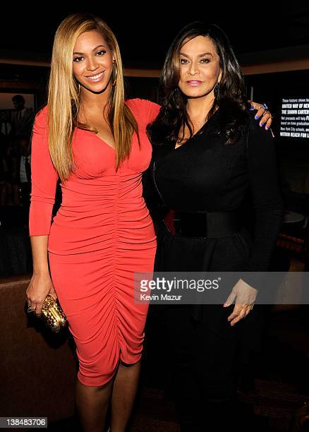 Beyonce and Tina Knowles attend the after party following JayZ's concert at Carnegie Hall to benefit The United Way Of New York City and the Shawn...