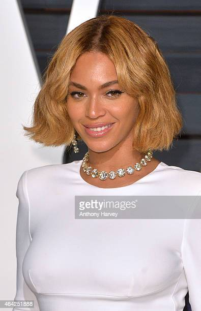Beyonce arrives at the 2015 Vanity Fair Oscar Party Hosted By Graydon Carter at Wallis Annenberg Center for the Performing Arts on February 22 2015...