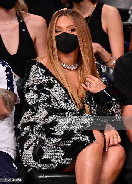 Beyonce attends Brooklyn Nets v Milwaukee Bucks game at Barclays Center of Brooklyn on June 05, 2021 in New York City.